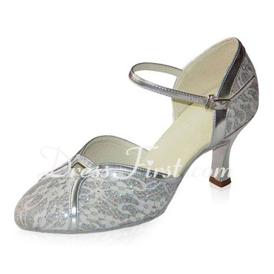 Women's Leatherette Heels Pumps Modern Ballroom With Ankle Strap Beading Dance Shoes (053021409)