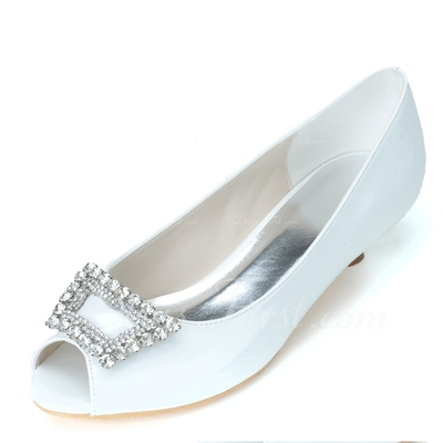 Women's Patent Leather Kitten Heel Peep Toe Pumps With Buckle Rhinestone (047057084)