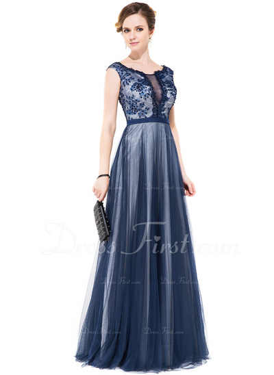 A-Line/Princess Scoop Neck Floor-Length Tulle Prom Dress With Beading Sequins (018050388)