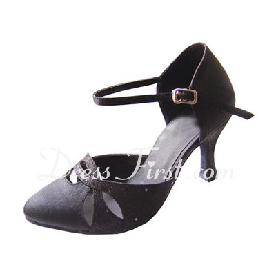 Women's Satin Sparkling Glitter Heels Pumps Modern With Ankle Strap Dance Shoes (053013014)