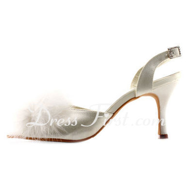 Women's Satin Stiletto Heel Peep Toe Sandals Slingbacks With Buckle Feather (047011894)
