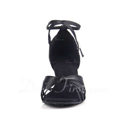 Women's Satin Heels Sandals Latin With Ankle Strap Dance Shoes (053013169)