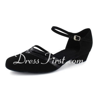 Women's Patent Leather Nubuck Flats Modern With Ankle Strap Dance Shoes (053021442)