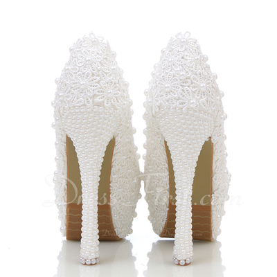 Women's Real Leather Stiletto Heel Closed Toe Platform Pumps With Imitation Pearl Stitching Lace (047054763)