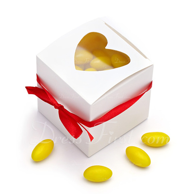 Heart Shape Laser Cut Cupcake Boxes With Ribbons (Set of 12) (050028843)