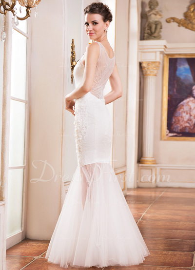 Trumpet/Mermaid Scoop Neck Floor-Length Tulle Lace Wedding Dress With Beading Sequins (002050136)