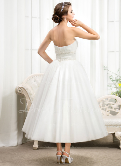 Ball-Gown Strapless Tea-Length Tulle Wedding Dress With Ruffle Lace Beading Sequins (002056482)