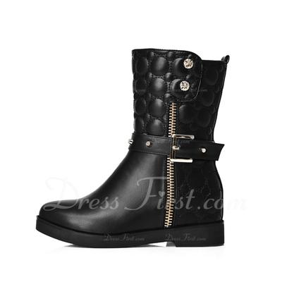 Suni deri Düz Topuk Ayak bileği Boots Ile Toka ayakkabı (088057348)