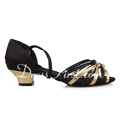 Women's Satin Leatherette Sandals Latin With Ankle Strap Dance Shoes (053013137)
