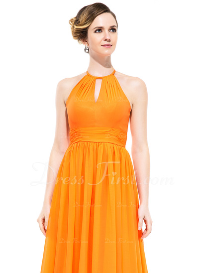 A-Line/Princess Scoop Neck Floor-Length Chiffon Evening Dress With Ruffle (007050070)