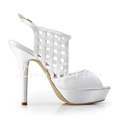 Saten İnce Topuk Burnu Açık Platform Topuktan Bağlı Sandalet Düğün Ayakkabıları (047011878)
