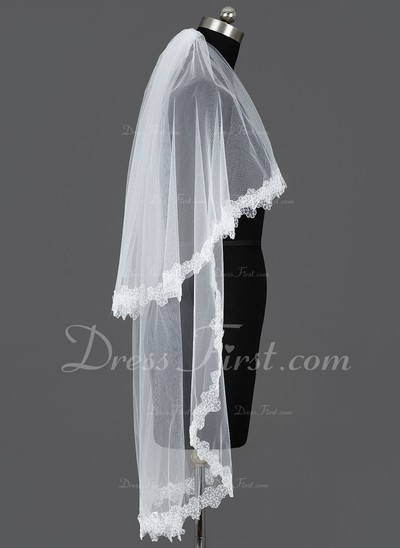 Two-tier Fingertip Bridal Veils With Lace Applique Edge (006031083)