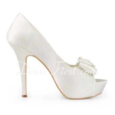 Satyna Szpilki Z Odkrytym Palcem Buty na Platformie Sandały Buty Ślubne Z Satynowy Kwiat (047011815)