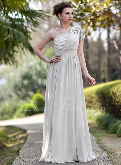 A-Line/Princess One-Shoulder Floor-Length Chiffon Sequined Evening Dress With Ruffle Beading (017022933)