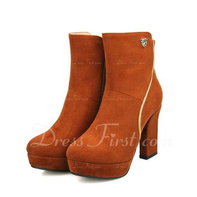 Süet Kalın Topuk Ayak bileği Boots ayakkabı (088056376)