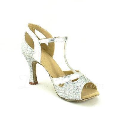 Kadın Köpüklü Glitter Topuk Sandalet Latin Ile T-Askı Dans Ayakkabıları (053057170)