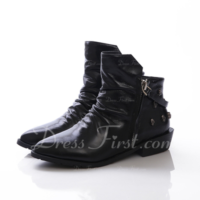 Real Leather Low Heel Ankle Boots With Zipper shoes (088057059)