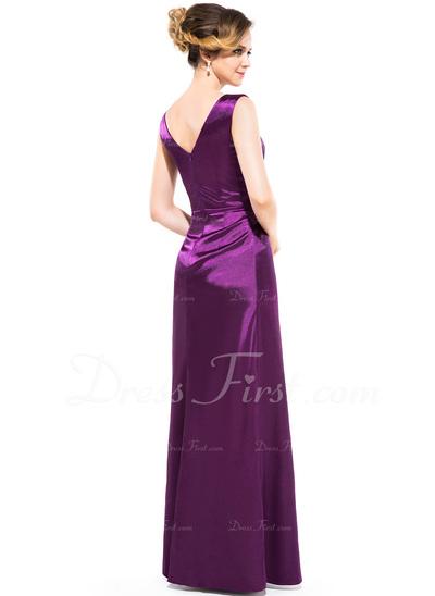 Sheath/Column V-neck Floor-Length Charmeuse Bridesmaid Dress With Ruffle Bow(s) (007050060)