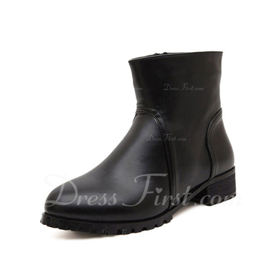 Leatherette Low Heel Ankle Boots shoes (088056664)