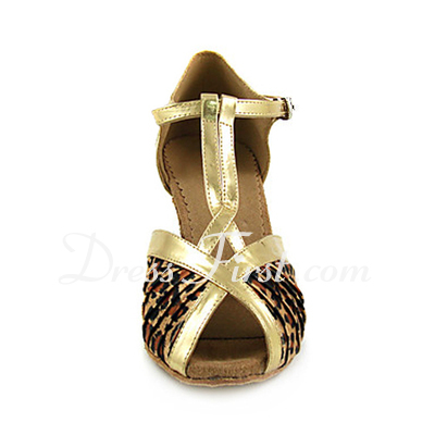 Women's Satin Leatherette Heels Sandals Latin With T-Strap Dance Shoes (053013252)