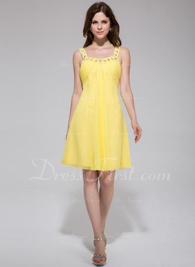 Empire Scoop Neck Knee-Length Chiffon Homecoming Dress With Ruffle Beading (022027063)