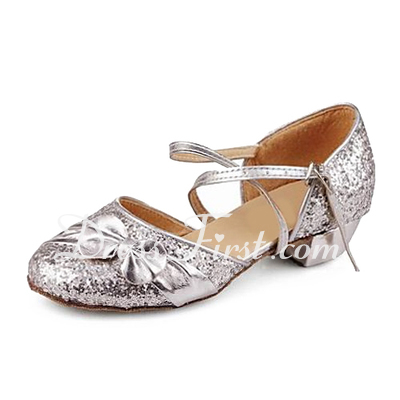 Women's Kids' Sparkling Glitter Sandals Modern Ballroom With Bowknot Dance Shoes (053013159)