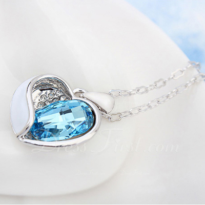 Sweet Heart Alloy/Platinum Plated With Crystal Ladies' Necklaces (011054893)