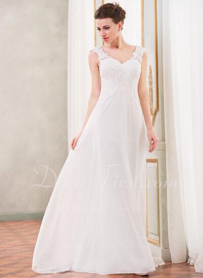 A-Line/Princess V-neck Sweep Train Chiffon Wedding Dress With Lace Beading Sequins (002042294)
