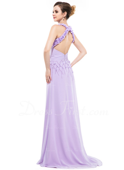 A-Line/Princess Scoop Neck Sweep Train Chiffon Evening Dress With Ruffle Beading Flower(s) Sequins (017050133)