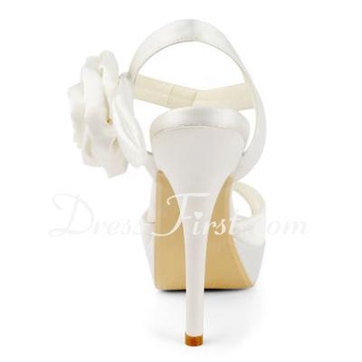 Saten İnce Topuk Platform Topuktan Bağlı Sandalet Düğün Ayakkabıları Ile Toka Saten Çiçek (047011830)