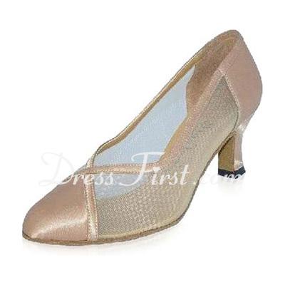 Women's Satin Heels Pumps Modern Ballroom Dance Shoes (053021394)