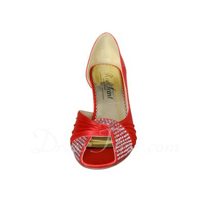 Women's Satin Stiletto Heel Peep Toe Pumps With Rhinestone (047057374)