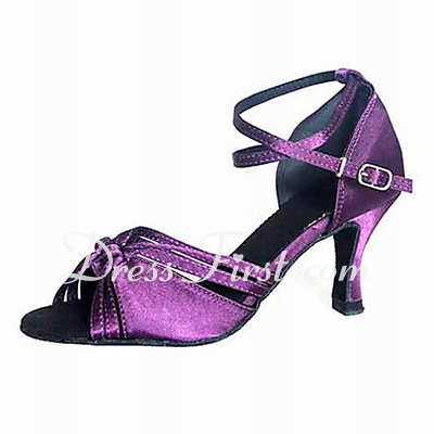 Women's Satin Heels Sandals Latin Ballroom Dance Shoes (053012957)