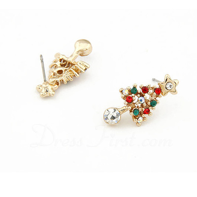Christmas Tree Shaped Alloy/Rhinestones Ladies' Earrings (011057579)