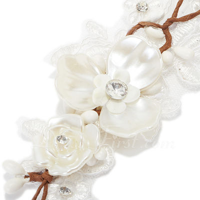 Glamourous Imitation Pearls/Lace Headbands (042057214)
