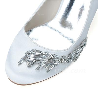 Kadın Satin İnce Topuk Kapalı Toe Pompalar Ile Yapay elmas (047057094)