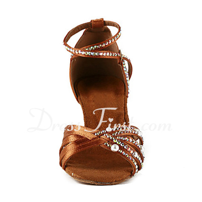 Women's Satin Heels Sandals Latin With Rhinestone Ankle Strap Dance Shoes (053018637)