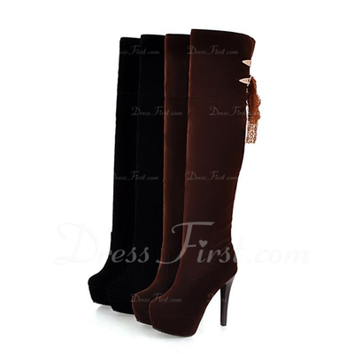 Süet İnce Topuk Diz Yüksek Boots Ile Pul ayakkabı (088057274)