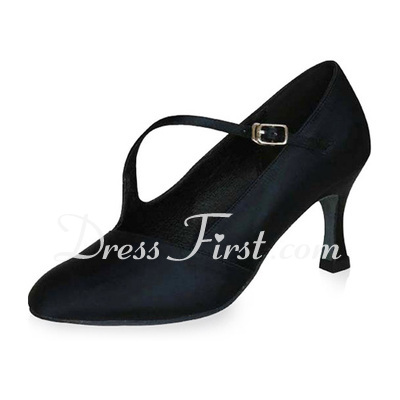 Women's Satin Heels Pumps Modern With Buckle Dance Shoes (053021415)
