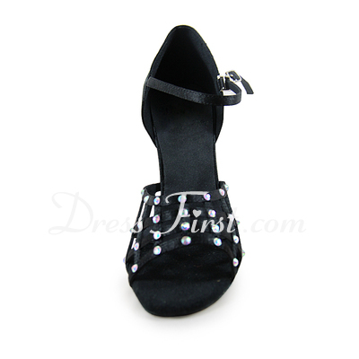 Women's Satin Heels Sandals Latin With Rhinestone Dance Shoes (053020014)