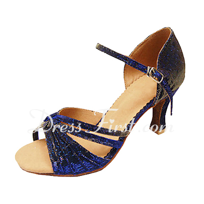 Women's Cloth Heels Sandals Latin With Buckle Dance Shoes (053013162)