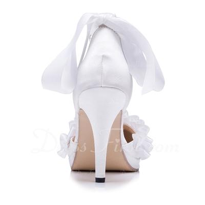 Kadın Satin İnce Topuk Kapalı Toe Pompalar Ile Ilmek İmitasyon İnci Fırfır (047056247)