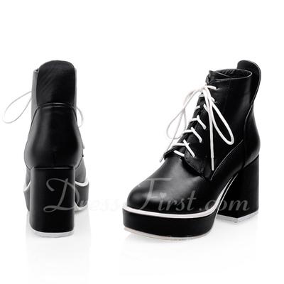 Suni deri Kalın Topuk Ayak bileği Boots Ile Bağcıklı ayakkabı (088056332)