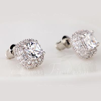 Classic Zircon/Platinum Plated Ladies' Earrings (011057455)