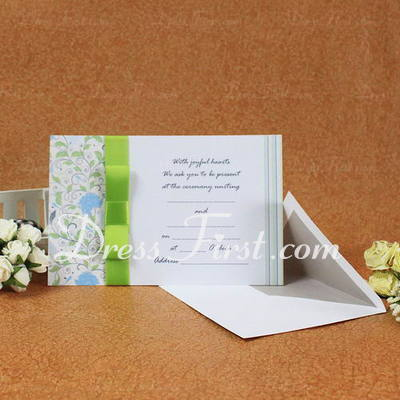 Classic Style Flat Card Invitation Cards With Ribbons (Set of 50) (114030725)