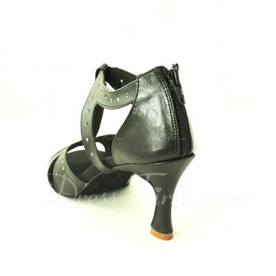 Kadın Gerçek Deri Topuk Sandalet Latin Ile T-Askı Dans Ayakkabıları (053013472)