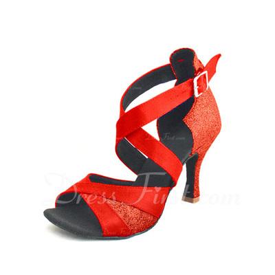 Women's Satin Sparkling Glitter Heels Sandals Latin Dance Shoes (053055688)