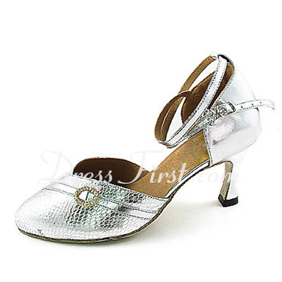 Women's Leatherette Sparkling Glitter Heels Pumps Ballroom With Rhinestone Ankle Strap Dance Shoes (053013342)