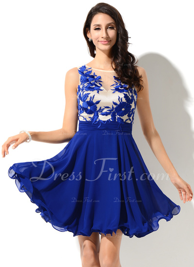 A-Line/Princess Scoop Neck Short/Mini Chiffon Homecoming Dress With Lace (022053546)