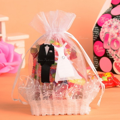 Bride & Groom Basket Favor Bags With Ribbons (Set of 12) (050054576)